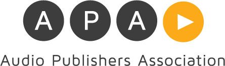 The APA Logo: 3 black and 1 gold circle. The letters 'A', 'P', & 'A' in the first 3, a play triangle in the 4th. The words 'Audiobook Publishers Association' beneath.