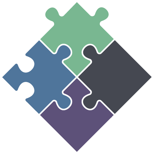 Four puzzle pieces in a square on its tip.